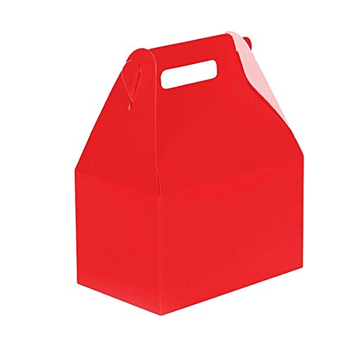 24CT (2 Dozen) Biodegradable Kraft/Craft Favor Treat Gable Boxes, Gift Boxes (Red, Medium) -