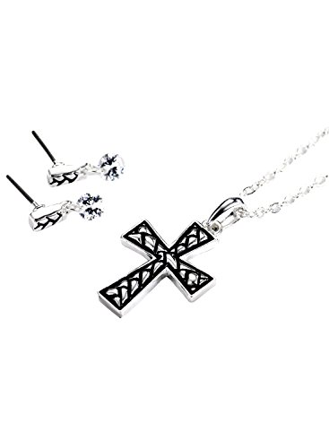 Neoglory Silver Color CZ Cubic Zirconia Cross Necklaces Stud Earrings Jewelry Sets for Sensitive Skin