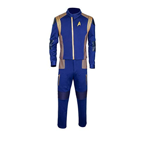 Partyever Trek Discovery Commander Uniform 2017 New Starfleet USS Discovery Captain Lorca Cosplay Costume Halloween Outfit (Large, Men) -
