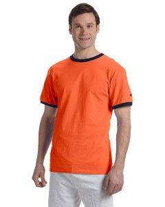 Champion 6.1 oz. Tagless Ringer T-Shirt - ORANGE/NAVY - M