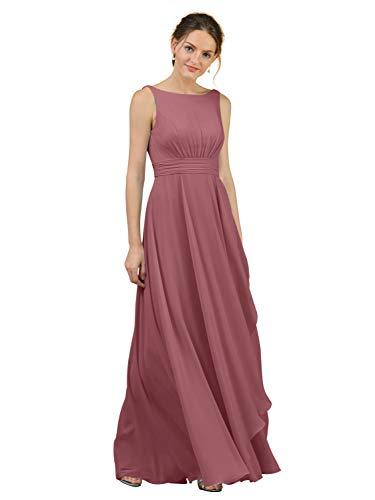 Alicepub A-Line Chiffon Bridesmaid Dress Long Party Evening Dresses Prom Gown Maxi, Dusty Rose, US8 (Chiffon Floor Length Gown)