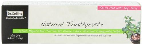 Le Dr Collins naturelles dentifrice, menthe vanille avec la baie de Goji, 4,2 onces