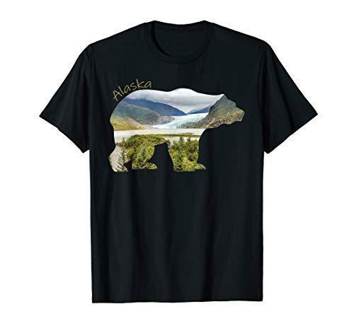 Alaska Bear Shirt - Grizzly Bear With Alaska Mountains Tee