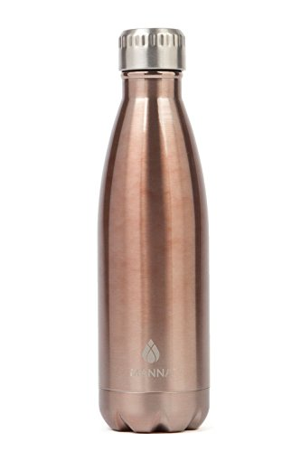 Manna Vogue Metallic Stainless Steel Double Walled Vacuum Insulated 17 Ounce Water Bottle | No Sweat | No BPA | Keeps Drinks Hot 12 Hours and Cold 24 Hours - Copper