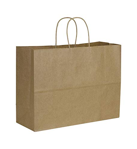 Solid Color Pattern Shopping Bags - Kraft Paper Shoppers Vogue, 16 x 6 x 12 1/2