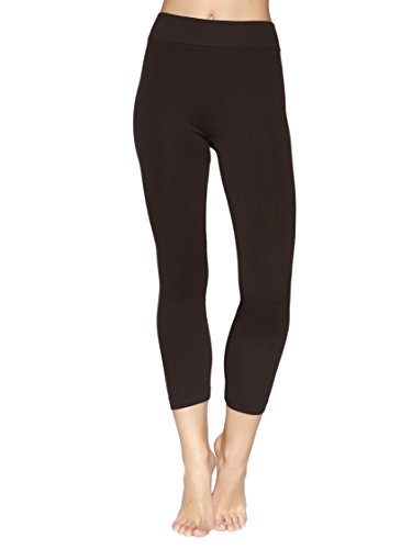 Reypo Women's Seamless Capri Leggings (Brown)
