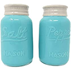 Mason Jar Salt and Pepper Shakers Vintage (Large 8 oz) - Set of 2, Premium, Quality Retro, Modern, Shabby Chic - Unique Rustic Home Décor! Cute & Chic Kitchen Accessories Sturdy Ceramic in Blue.