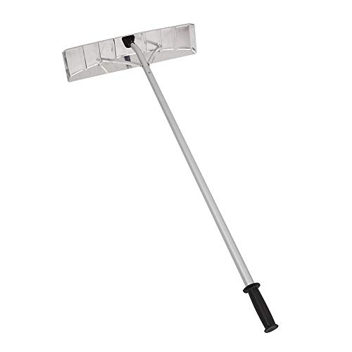 TUFFIOM Roof Snow Shovel Rake w/Wide Head Blade & 20FT Aluminum Telescoping Extension Poles,No Fragile Rollers, Easy-to-Assemble,Ideal Extendable Removal Tool for Clearing Snow on Rooftop (Patio A Building Rooftop)