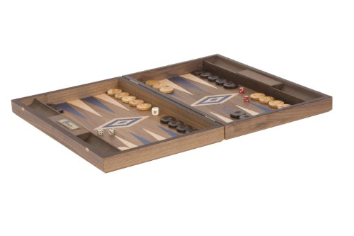 Uber Games Walnut Backgammon Set - Blue