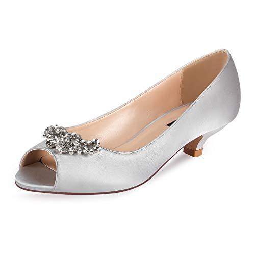 (ERIJUNOR E0111 Women Comfort Low Kitten Heels Rhinestones Peep Toe Wedding Evening Party Shoes Dress Pumps Silver Size 7)