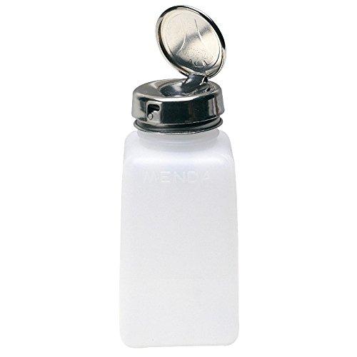 MENDA 35703 High-Density Polyethylene/Hdpe/Steel/Low-Density Polyethylene/Ldpe Dispensing Bottle, Take-Along Liquid Dispenser Pump, Locking, Natural Square HDPE, 6 oz.