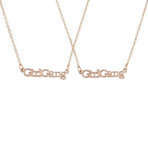 Lux Accessories Rose Gold Tone Girl Gang Best Friends BFF Necklace Set 2PC - Heart Rose Tattoo Dress
