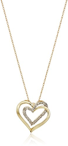 10k Yellow Gold Diamond Double Heart Pendant Necklace, 18