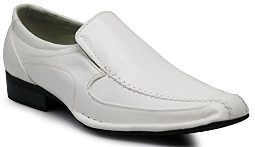 Enzo Romeo ND2 Men's Dress Bike Toe Loafers Elastic Slip on with Plain Fashion Shoes (10.5 D(M) US, White) by Enzo Romeo