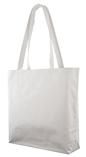 (Large Shopping Tote with Shoulder Length Handles (White))