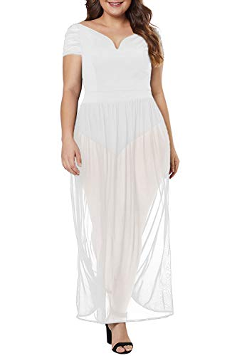 - XAKALAKA Women's Plus Size Lace Off Shoulder Sweetheart Bodysuit Sheer Club Long Dress White XXL