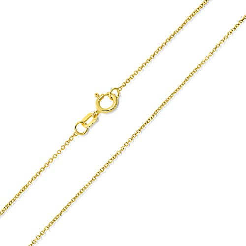 14k Yellow Gold 0.5mm Dainty Rolo Cable Chain Chain Necklace with Spring Ring Clasp, 22