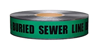 """Presco D2105G4-658 1000' Length x 2"""" Width, Green with Black Ink Detectable Underground Warning Tape, Legend """"Caution Buried Sewer Line Below"""" (Pack of 12)"""