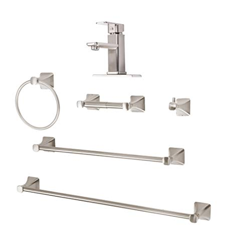 Timeless Bathroom Hardware Set With Brass and Zinc Sink Faucet, 18 & 24 Inch Towel Bar Sets, Toilet Paper Holder, Robe Hook, Complete Bath Fixture Accessories Kit, 6 Piece, Brushed Nickel, Soft Square