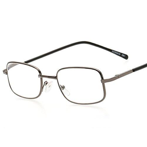 0 lectura 1 a del hombre Dintang de anteojos de Gray de lectura metal marco Intensidad cuadrados la Vidrios gafas 4 las Viejo Vidrios llenos 0 del manera 114qE