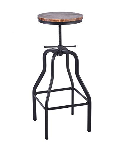 Articial Vintage Bar Stool Round Swivel Wood Seat and Metal Height Adjustable Industrial Look (Vintage Stool Shop)