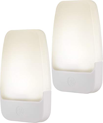 GE 30966 LED Plug-In Night Light, 2 Pack, Automatic, Light Sensing, Auto On/Off, Soft White, Energy Efficient, Ideal for Entryway, Hallway, Kitchen, Bathroom, Bedroom, Stairway and Office