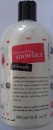- philosophy shimmering snowlace shampoo, shower gel & bubble bath 16 fl oz / 480 ml