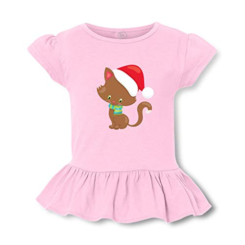 Christmas Kitten Santa Hat Short Sleeve Toddler Cotton Girly T-Shirt Tee - Soft Pink, Large