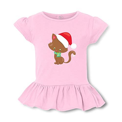 Christmas Kitten Santa Hat Short Sleeve Toddler Cotton Girly T-Shirt Tee - Soft Pink, Large]()