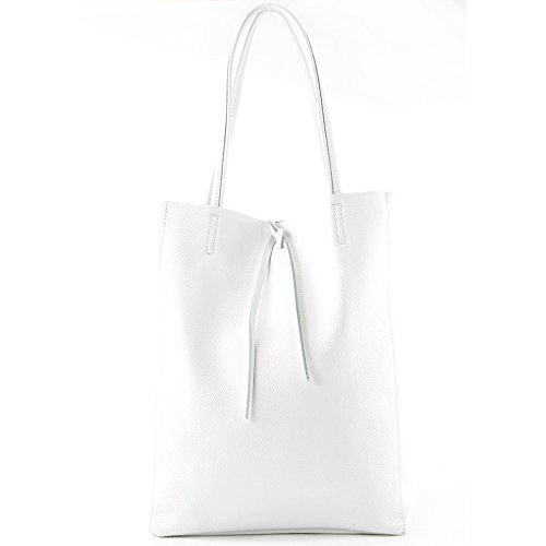 modamoda de - ital. Ledertasche Damentasche Shopper Tasche Groß Schultertasche Leder T163, Präzise Farbe:Lila Weiß