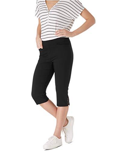(89th + Madison Women's Buckle Trim Comfort Waist Capri Pants Black)