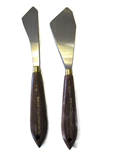 2 - Tobgi Artist Palette Knifes Wooden Handles #1000-1114 (Made in Italy)