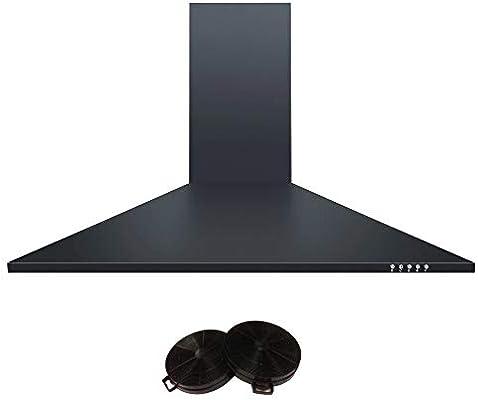 Campana extractora Cookology CH900BK tipo chimenea de 90 cm con filtros, color negro: Amazon.es: Grandes electrodomésticos