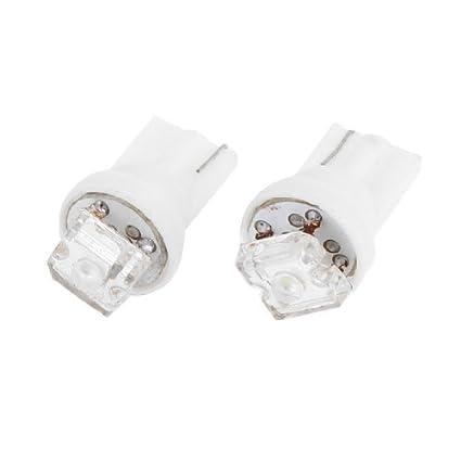 eDealMax 2pcs del bulbo Blanco T10 1 LED indicador del tablero de instrumentos Luz DC 12V