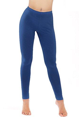 PINKPHOENIXFLY Women's Basic Cotton Leggings Pants (Medium, Royal)