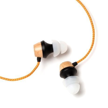 Symphonized ALN Premium Genuine Wood in-Ear Noise-isolating Headphones, Earbuds, Earphones with Mic (Orange Stripe)