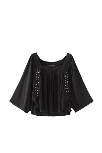 Elegante encaje Patchwork oscilación T camisas de la mujer Black