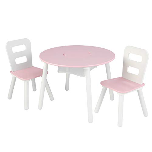 KidKraft Wooden Round Table & 2 Chair Set with Center Mesh Storage – Pink & White, Gift for Ages 3-8