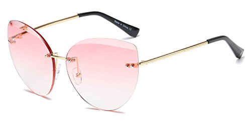 Cramilo Fashion Designer Rimless Colored Oversize Round Cat Eye Sunglasses for - Contacts Cat Cheap Eye