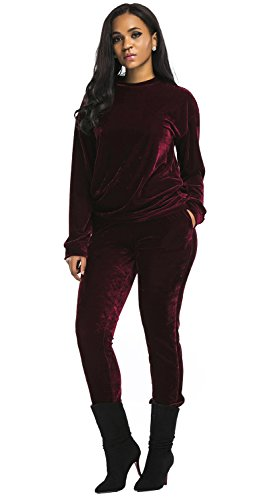 - Aecibzo Women's 2 Pieces Long Sleeve Velvet Sweatshirt and Pants Tracksuit Outfits (S, Wine Red)