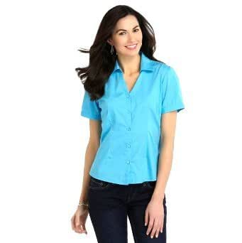 Basic editions women 39 s woven button front short sleeves for Women s long sleeve camp shirts