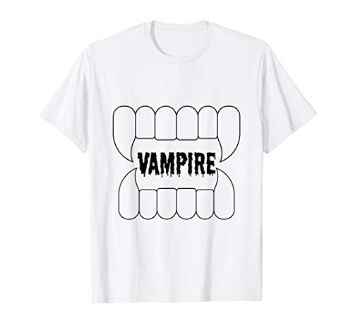 Wampire Teeth Bloody Graphic Halloween Party Costume T -