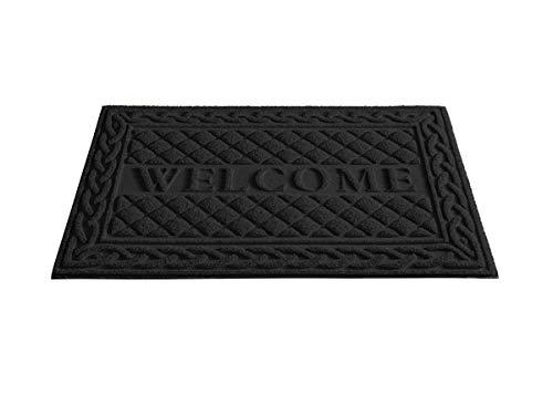 Superio Black Lattice Coir Welcome Doormat- Indoor and Outdoor Entry Floor Mat - 18x30