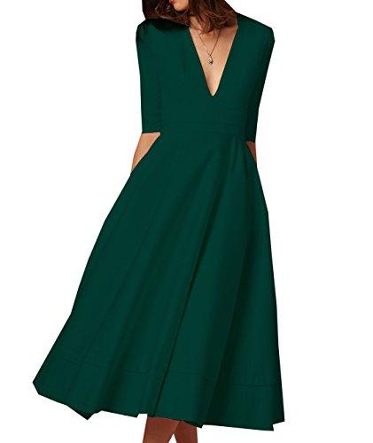 Cerimonia Vestito Verde da Vintage Scuro Midi Onenight Abito V Cocktail Vestiti Swing Sera Donna Collo Lunghi Partito Elegante Vacanza ZTxnFq78