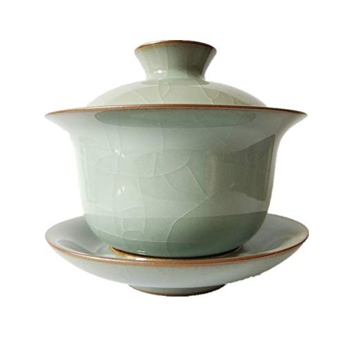 - Kung Fu Gaiwan 5oz Teacups and Saucer Set crackle-glazed Ge Kiln Handmade Celadon(Grey)