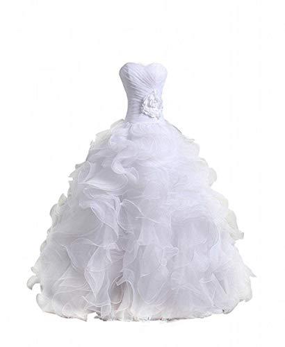 UNICLIU Women's Organza Sweetheart Neckline Cascading Ruched Wedding Dress White