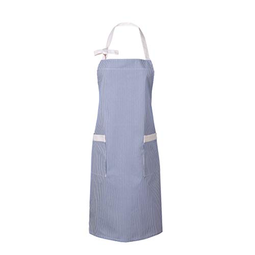 Waitworth 2 Pack Cotton Canvas Bib Apron 2 Pockets Adjustable Neck Strap Apron Cooking Kitchen Crafting Artist Gardening Aprons for Women Men Adults, Blue and White Pinstripe ...