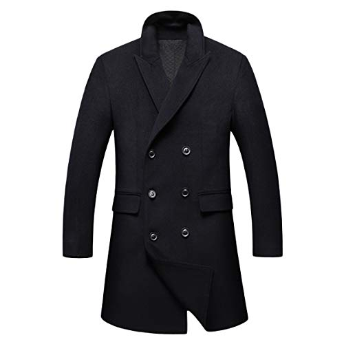 Casual Coat Slim Fashion Breasted uomo Caban Fit Classic da Winter Casual Double Trench Cappotto Black Long xYAgaXOqw