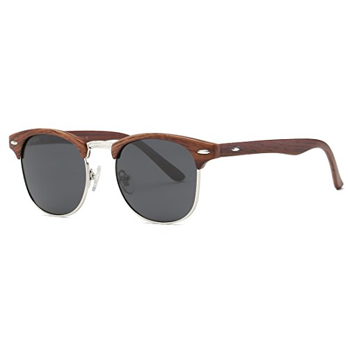Womens Medium Frame Sunglasses - AEVOGUE Polarized Sunglasses Semi-Rimless Frame Brand Designer Classic AE0369 (Brown Woodgrain&Black, 48)
