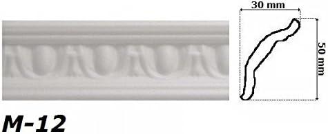 30 x 50 mm Hexim M-12 2 metros de moldura de estuco para esquina poliestireno